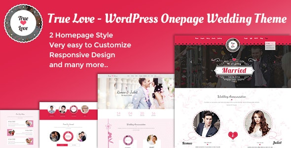True Love – Onepage WordPress Wedding Theme