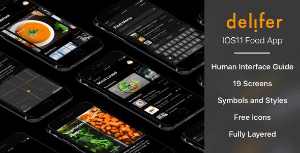 Delifer - IOS11 UI Food Delivery App Sketch Templates by