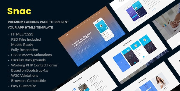 Snac - Premium Responsive App Landing Page HTML5 Template - Software Technology
