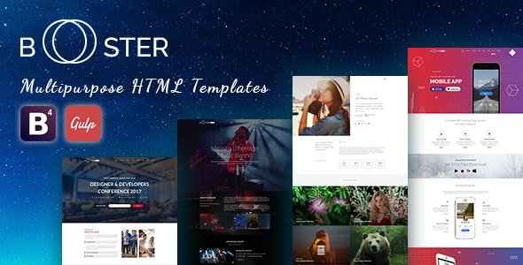 Booster - Business and multipurpose (Bootstrap 4 and Gulp)  HTML Template - Corporate Site Templates