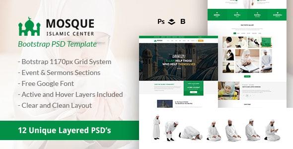 Mosque - Islamic Center Bootstrap PSD Template - Nonprofit Photoshop
