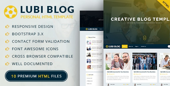 Lubi - Personal Blog HTML Template (Article, News, Business, Travel, Magazine) - Personal Site Templates