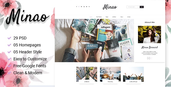 Minao - Blog PSD Template - Personal Photoshop