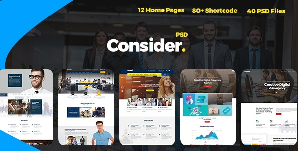 Consider - Consulting,Finance, Business Agency PSD Template - Business Corporate