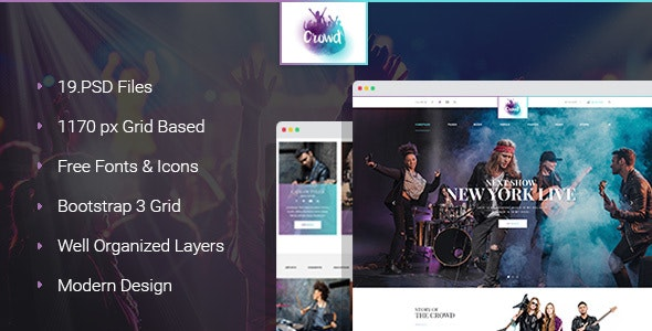 The Crowd - Rock Band Page PSD Template - Entertainment Photoshop