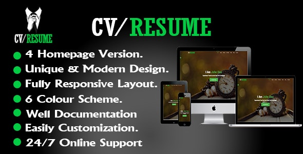 CV/Resume Template - Resume / CV Specialty Pages