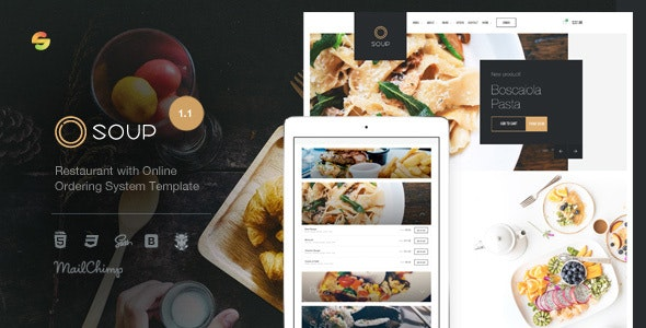 Soup - Restaurant with Online Ordering System Template - Restaurants & Cafes Entertainment