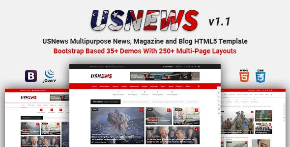 USNews | Multipurpose News, Magazine and Blog HTML5 Template