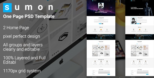SUMON - Personal Portfolio Website Design - Photoshop UI Templates