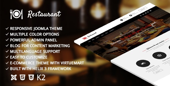 Restaurant – Responsive Joomla Template - Joomla CMS Themes