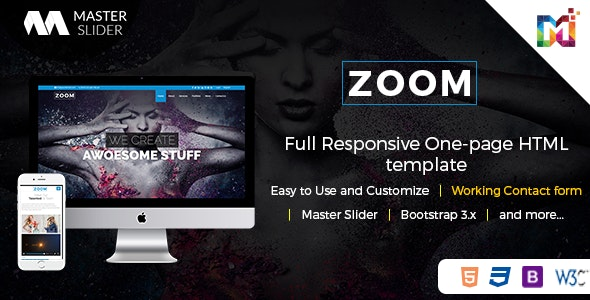Responsive One Page Parallax - Zoom - Creative Site Templates