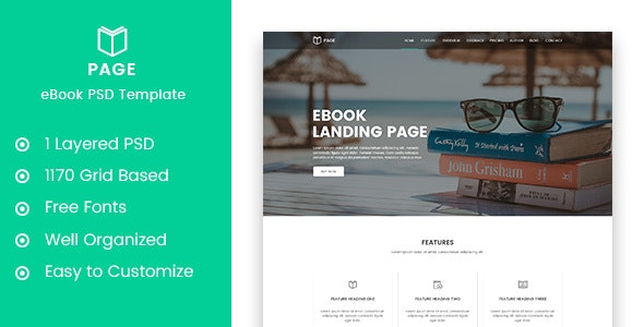 Page - eBook Landing PSD Template - Marketing Corporate