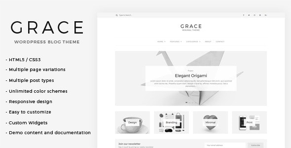 Grace - Minimal WordPress Blog Theme - Blog / Magazine WordPress