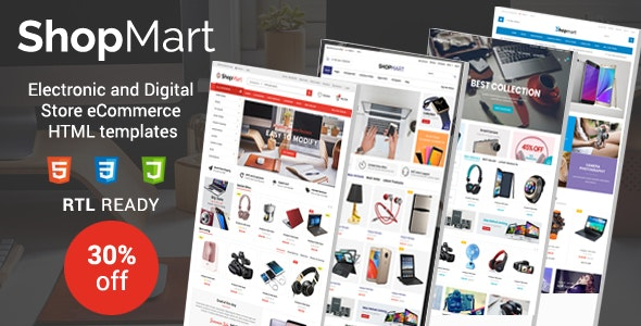 ShopMart - Electronic & Digital Store eCommerce HTML Template - Retail Site Templates
