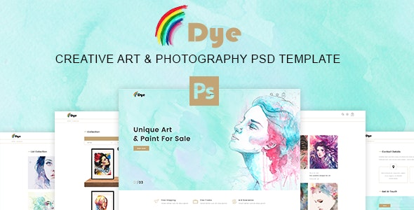 Dye – MultiPurpose Creative Art & Photography PSD Template - Retail Photoshop