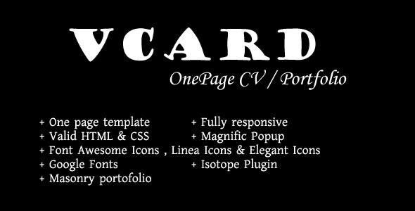Vcard - Onepage Responsive CV / Portfolio Templatee - Portfolio Creative