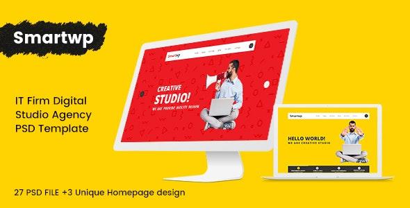 Smartwp - IT Firm digital studio Agency PSD Template - Creative Photoshop