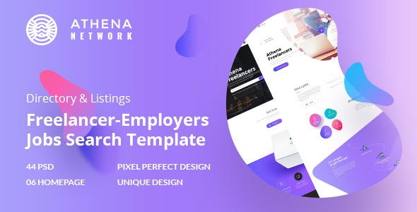 ATHENA - Freelancer and Employers Jobs Search Template - Corporate Photoshop