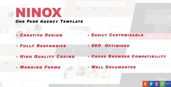 Ninox - Creative One page HTML template - Creative Site Templates