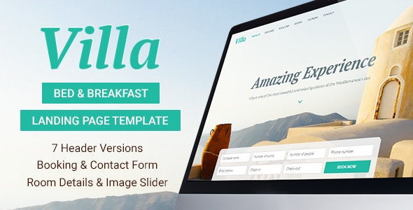 Villa - Bed & Breakfast Landing Page Template - Travel Retail