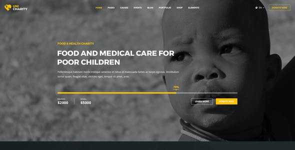 UniCharity   Charity PSD Template