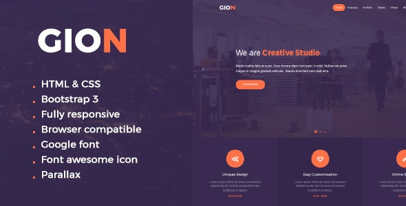 Gion HTML One Page Template - Corporate Site Templates