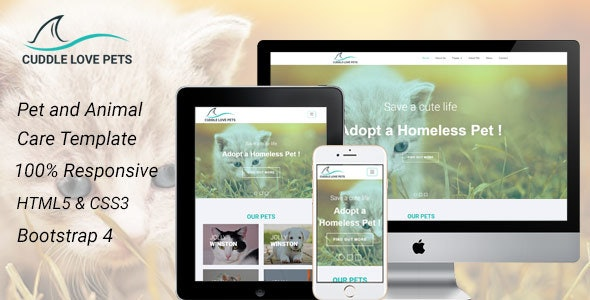 Cuddle Love Pet - A Complete Pet Shop, Job Directory HTML5 Template. - Creative Site Templates