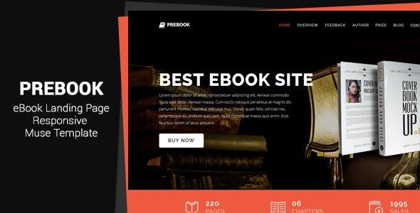 Prebook - eBook Landing Page Responsive Adobe Muse Template - Landing Muse Templates