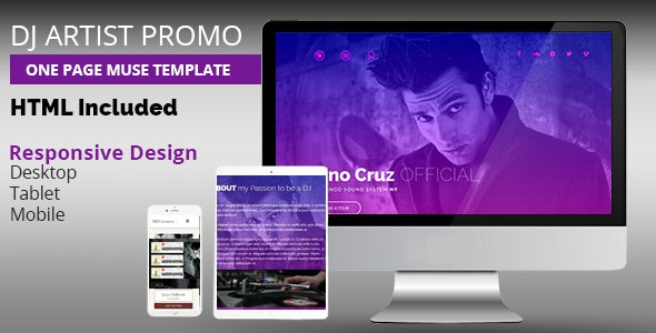 DJ Artist Promo One Page Muse Template - Landing Muse Templates