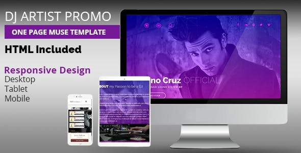Download DJ Artist Promo One Page Muse Template