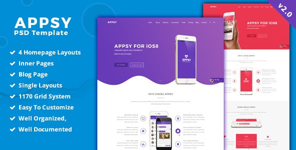 APPSY - App Landing Page  PSD Template - Photoshop UI Templates
