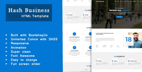 Hashbus  - One Page Corporate and Business Template - Business Corporate