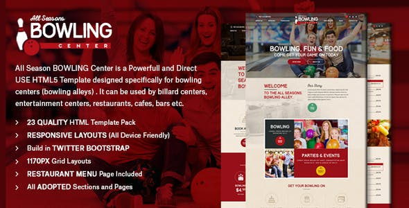 Bowling - Responsive HTML Template