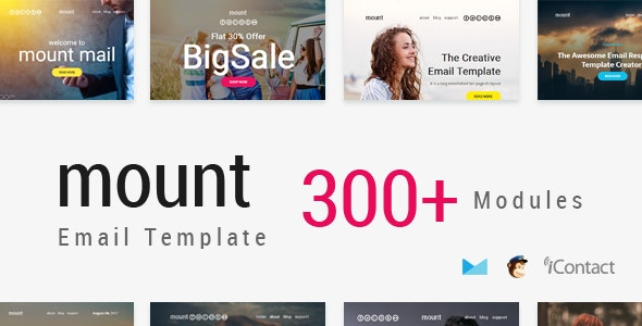 Mount Mail 300+ Modules - Responsive E-mail Template + Online Access - Email Templates Marketing