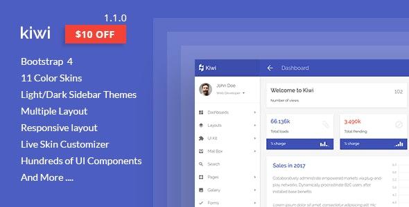 kiwi - Responsive Web App Kit - Admin Templates Site Templates