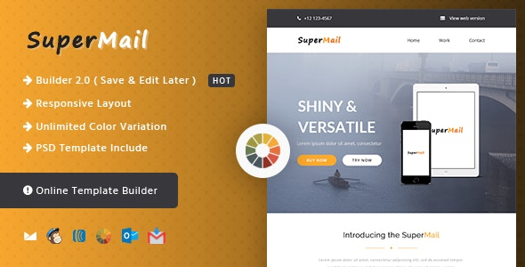 Responsive Email + Online Template Builder - SuperMail Agency - Newsletters Email Templates