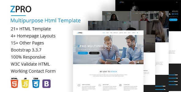 ZPRO Multipurpose HTML5 Template - Corporate Site Templates