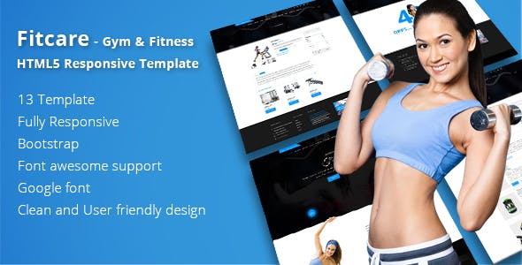 Fitcare - Gym & Fitness HTML5 Responsive Template