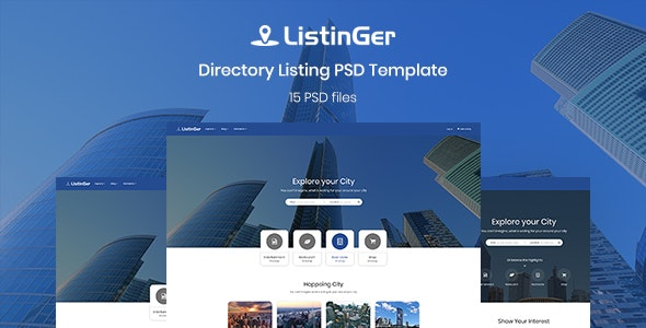 ListinGer - Directory Listing Template - Corporate Photoshop