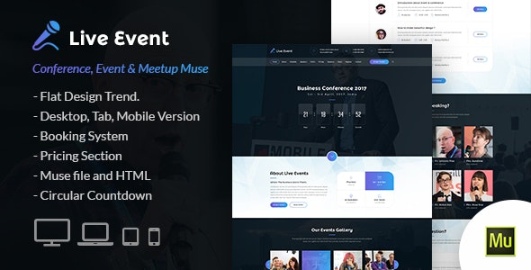Live Event - Conference and Meetup Muse Template - Landing Muse Templates