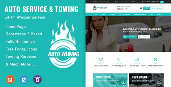 AutoTowing Emergency Auto Towing and Roadside Assistance Service HTML Template - Business Corporate