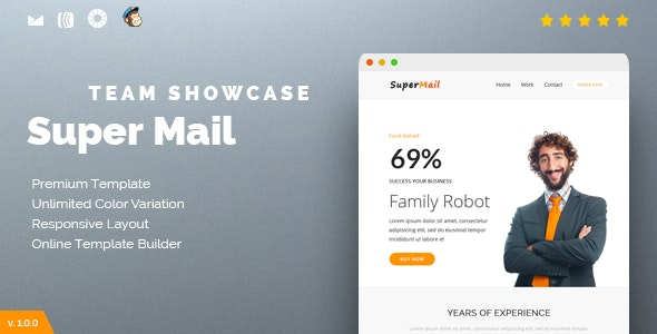 Responsive Email + Online Template Builder - SuperMail Team Showcase - Newsletters Email Templates