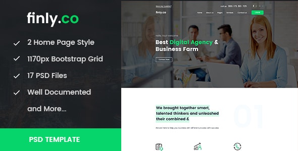 finly.co - Business & Digital Agency PSD Template - Business Corporate