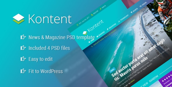 Kontent - News and Magazine PSD Template - Photoshop UI Templates