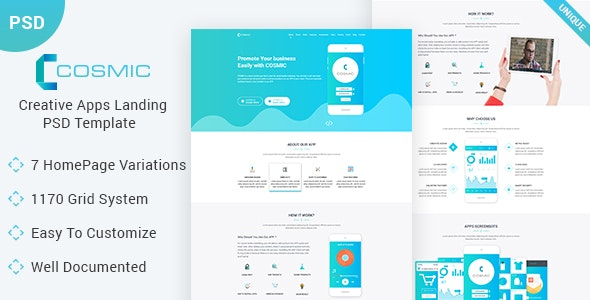 COSMIC - App Landing Page PSD Template - Business Corporate
