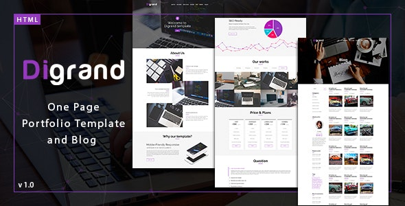 Digrand - One Page Portfolio Template And Blog - Portfolio Creative