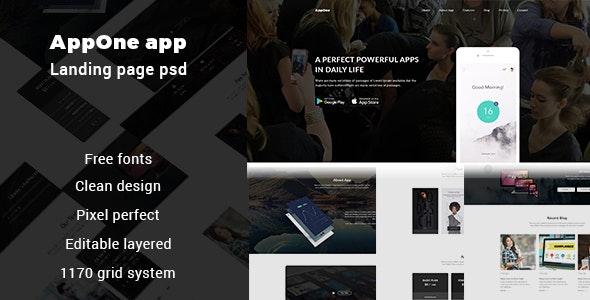 AppOne app Landing page PSD Template - Photoshop UI Templates