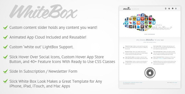 WhiteBox App Landing Page Template - Apps Technology