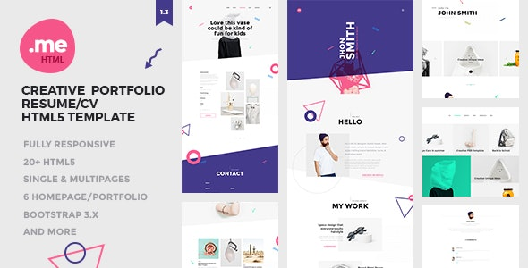 Me - Creative Portfolio & Resume / CV HTML5 Template - Creative Site Templates