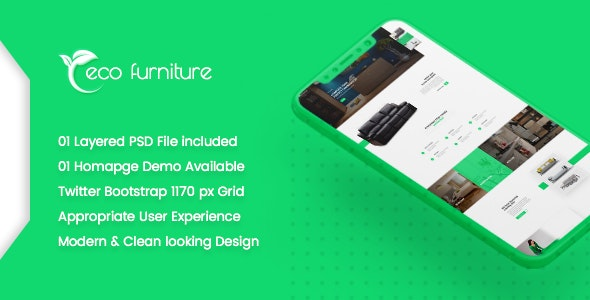 Eco Furniture - Lead Generation Landing Page PSD Template - Business Corporate